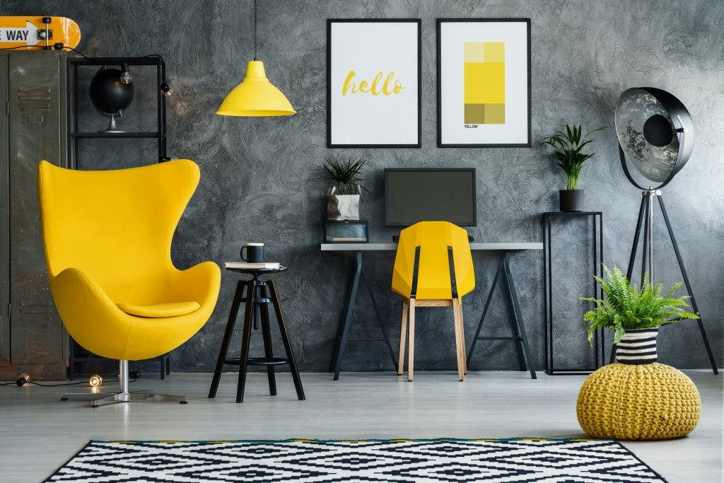 yellow and black theme interior design office