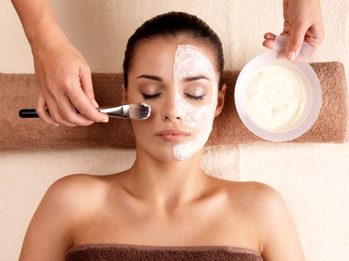 woman getting facial care treatment